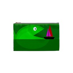 Green Monster Fish Cosmetic Bag (small)  by Valentinaart