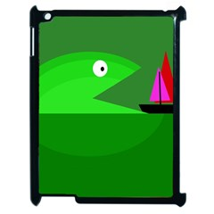 Green Monster Fish Apple Ipad 2 Case (black) by Valentinaart