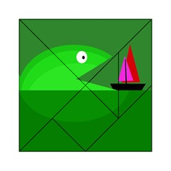 Green Monster Fish Acrylic Tangram Puzzle (6  X 6 ) by Valentinaart
