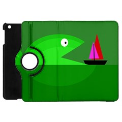 Green Monster Fish Apple Ipad Mini Flip 360 Case by Valentinaart