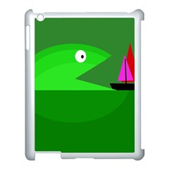 Green Monster Fish Apple Ipad 3/4 Case (white) by Valentinaart