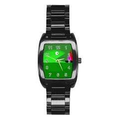 Green Monster Fish Stainless Steel Barrel Watch by Valentinaart