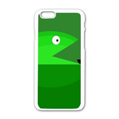 Green Monster Fish Apple Iphone 6/6s White Enamel Case by Valentinaart