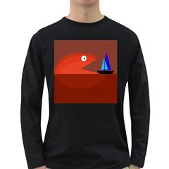 Red Monster Fish Long Sleeve Dark T Shirts by Valentinaart
