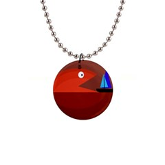 Red Monster Fish Button Necklaces by Valentinaart