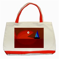 Red Monster Fish Classic Tote Bag (red) by Valentinaart