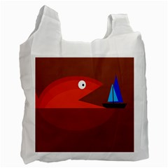 Red Monster Fish Recycle Bag (one Side) by Valentinaart