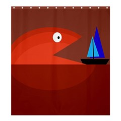 Red Monster Fish Shower Curtain 66  X 72  (large)  by Valentinaart