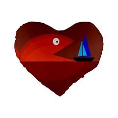 Red Monster Fish Standard 16  Premium Heart Shape Cushions by Valentinaart