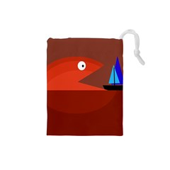 Red Monster Fish Drawstring Pouches (small)