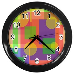 Colorful Geometrical Design Wall Clocks (black) by Valentinaart