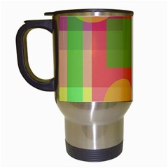 Colorful Geometrical Design Travel Mugs (white) by Valentinaart