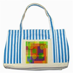 Colorful Geometrical Design Striped Blue Tote Bag by Valentinaart