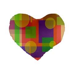 Colorful Geometrical Design Standard 16  Premium Flano Heart Shape Cushions by Valentinaart