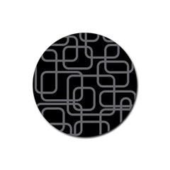 Black And Gray Decorative Design Rubber Coaster (round)  by Valentinaart