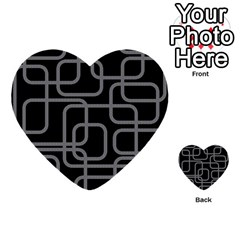 Black And Gray Decorative Design Multi Purpose Cards (heart)  by Valentinaart