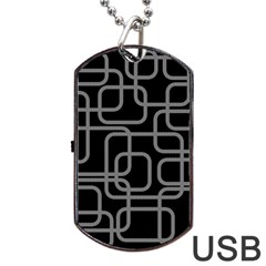 Black And Gray Decorative Design Dog Tag Usb Flash (one Side) by Valentinaart