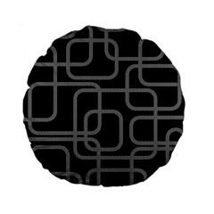 Black And Gray Decorative Design Standard 15  Premium Round Cushions by Valentinaart