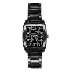 Black And Gray Decorative Design Stainless Steel Barrel Watch by Valentinaart