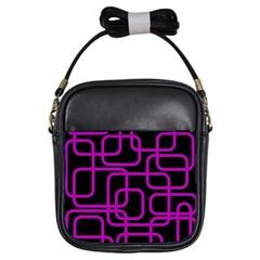 Purple And Black Elegant Design Girls Sling Bags by Valentinaart