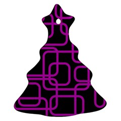 Purple And Black Elegant Design Christmas Tree Ornament (2 Sides) by Valentinaart