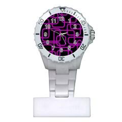 Purple And Black Elegant Design Plastic Nurses Watch by Valentinaart