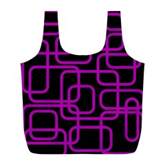 Purple And Black Elegant Design Full Print Recycle Bags (l)  by Valentinaart