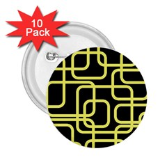 Yellow and black decorative design 2.25  Buttons (10 pack)  by Valentinaart