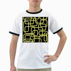 Yellow And Black Decorative Design Ringer T Shirts by Valentinaart
