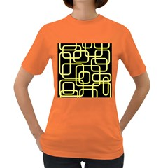 Yellow And Black Decorative Design Women s Dark T Shirt by Valentinaart