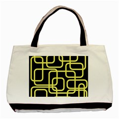 Yellow And Black Decorative Design Basic Tote Bag (two Sides) by Valentinaart