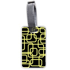 Yellow And Black Decorative Design Luggage Tags (one Side)  by Valentinaart