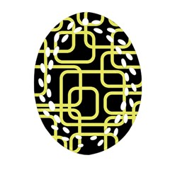 Yellow And Black Decorative Design Ornament (oval Filigree)  by Valentinaart