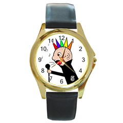 Punker  Round Gold Metal Watch by Valentinaart