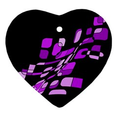 Purple Decorative Abstraction Ornament (heart)  by Valentinaart