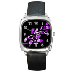 Purple Decorative Abstraction Square Metal Watch by Valentinaart