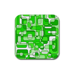 Green Decorative Abstraction  Rubber Square Coaster (4 Pack)  by Valentinaart
