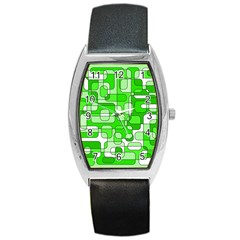 Green Decorative Abstraction  Barrel Style Metal Watch by Valentinaart