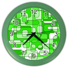 Green decorative abstraction  Color Wall Clocks by Valentinaart