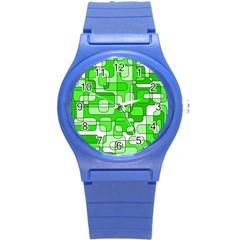 Green Decorative Abstraction  Round Plastic Sport Watch (s) by Valentinaart