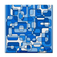 Blue Decorative Abstraction Tile Coasters by Valentinaart