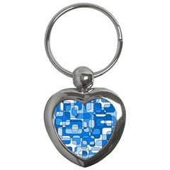 Blue Decorative Abstraction Key Chains (heart)  by Valentinaart