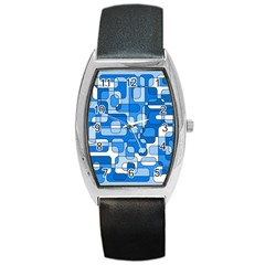 Blue Decorative Abstraction Barrel Style Metal Watch by Valentinaart