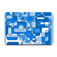 Blue Decorative Abstraction Small Doormat  by Valentinaart