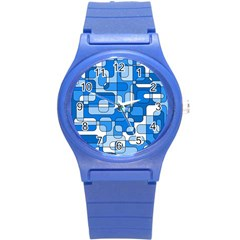 Blue Decorative Abstraction Round Plastic Sport Watch (s) by Valentinaart