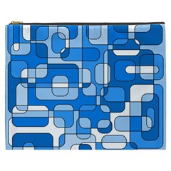 Blue Decorative Abstraction Cosmetic Bag (xxxl)  by Valentinaart