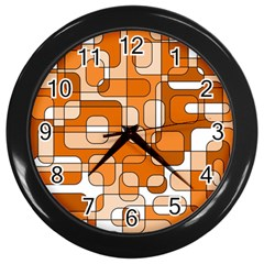 Orange Decorative Abstraction Wall Clocks (black) by Valentinaart