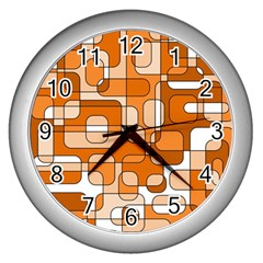 Orange Decorative Abstraction Wall Clocks (silver)  by Valentinaart