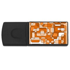Orange Decorative Abstraction Usb Flash Drive Rectangular (4 Gb)  by Valentinaart