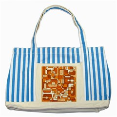 Orange Decorative Abstraction Striped Blue Tote Bag by Valentinaart